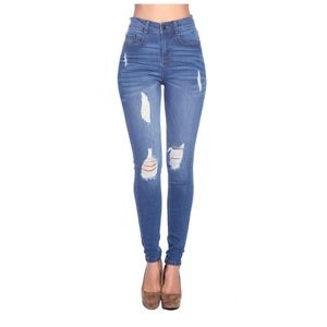 Denim - Butt Lifting Knee Ripped Destroyed Skinny Jeans